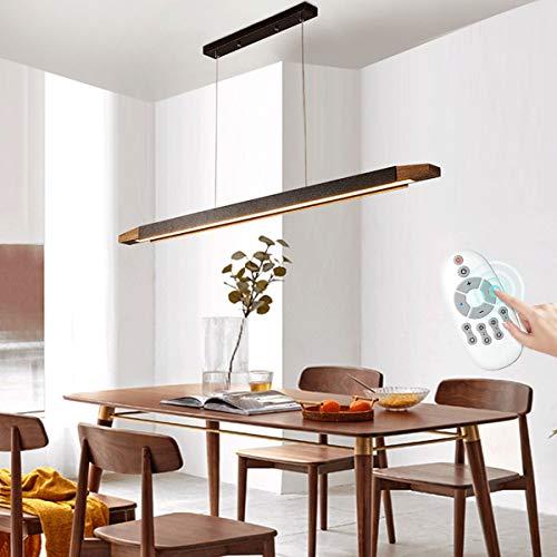 LED Lámpara Colgante Mesa de Comedor Madera Vintage, Regulable Lámpara de Comedor con Control Remoto, Iluminación Colgante ALtura Ajustable para Sala de Estar Restaurante,120cm/24watt