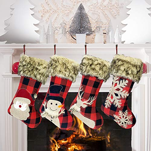 GP Life 18 Inch Christmas Stockings 4 Pack Xmas Stockings Personalized for Christmas Tree Fireplace Hanging and Party Decorations