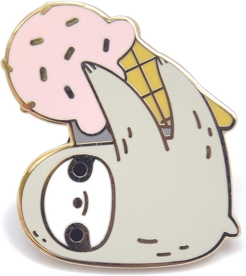Cute Sloth and Strawberry Ice Cream Enamel Pin