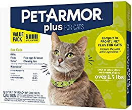 PetArmor Plus for Cats, Flea & Tick Prevention for Cats (Over 1.5 lb), Includes 6 Month Supply of Topical Flea Treatments