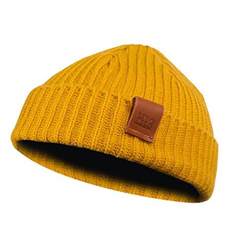 Fishermans Beanie - Mütze, Fischermütze, Strickmütze mit Echt-Leder Veredelung (Manufaktur13/M13) (Mustard/Gelb)