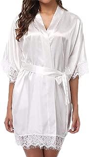 Women's 3/4 Sleeve Kimono Pure Color Robes Short Satin Nightwear Bridesmaids Lingeries