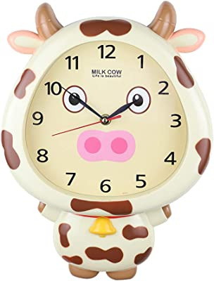 GIFTS PLAZA (D) 14x10 Milky Cow Cream Wall Clock for Kids Room (