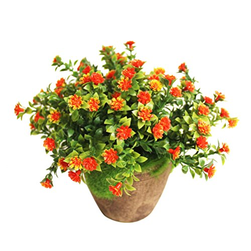 WINOMO Planta Artificial Potted Falsa Planta decorativa Bonsai Lifelike Flor para decoración del hogar (naranja)