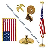 EasyGO Products 3'x5' Telescoping Indoor Pole Kit Base Stand, Gold American Eagle Topper, 6-8', with Tassle and Flag