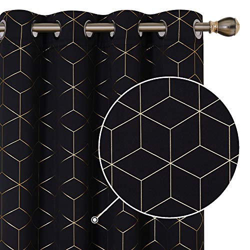 Deconovo Gold Diamond Foil Print Blackout Curtains Room Darkening Thermal Insulated Grommet Curtain Panels for Bedroom Black 52W x 54L Inch 2 Panels Set