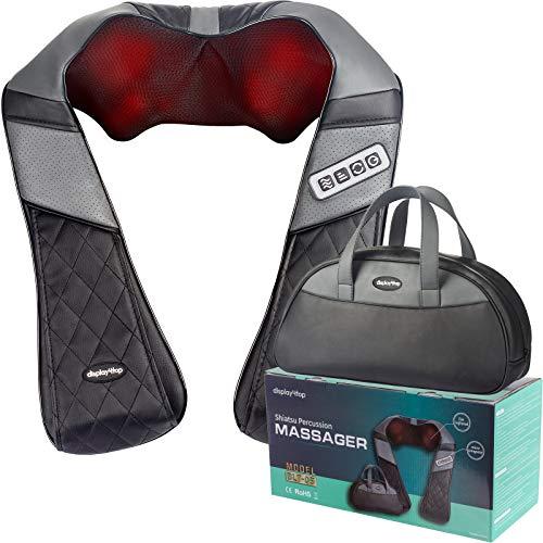 Display4top nekmassageapparaat, kan thuis, op kantoor, in de auto worden gebruikt, kan effectief schouder-, rug-, kuitpijn en andere pijn verlichten, bevat een handtas (Zwart&Grijs)