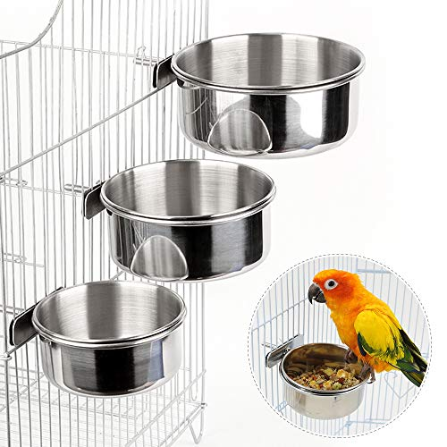 3PCS Bird Feeder for Cage Parakeets Food Feeder with Clamp Holder, Bird Feeding Dish Stainless Steel Bird Bowl Parrot Feeding Cups Animal Cage Water Food Bowl for Parrot