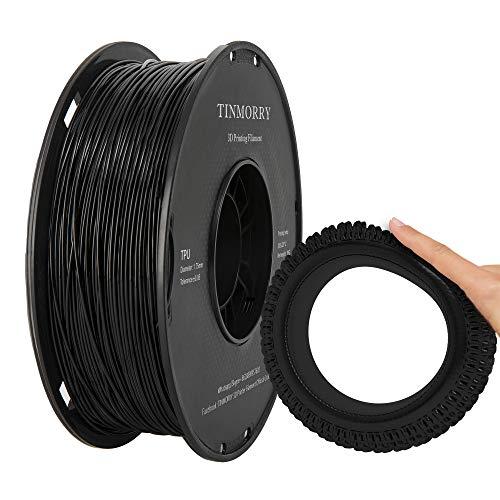 Filamento TPU 1,75 mm TINMORRY TPU 3D Materiali di stampa per stampante FDM 3D 1 kg 1 bobina Nero