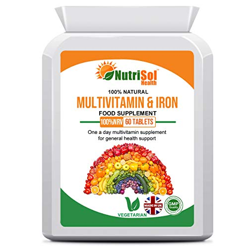 NutriSol Health MultiVitamins & Iron 60 Tablets | One a Day Multivitamin Supplement for General Health Support | Healthy Hair, Skin & Nails | Bones & Teeth | Energy | Daily Health Support.