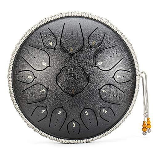 Steel Drums Percussion Handpan | 14 Zoll 15 Noten D Major Carbon Steel Percussion Instrument | Handtrommel mit Schlägeln Stoßfeste Tasche für Meditation/Yoga/Zen Brahma Trommel