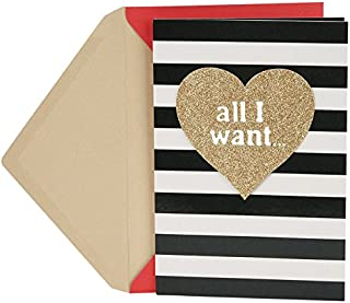 Hallmark Valentine's Day Card for Him (Gold Heart and Stripes)
