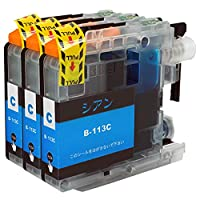 ブラザー用互換インクカートリッジ LC113(C/シアン) 3本セット 残量表示対応最新ICチップISO14001/ISO9001認証工場生産 1年保証/国内梱包/国内再検品 【現代のインク】対応プリンター型番(MFC-J4910CDW,DCP-J4215N,DCP-J4210N,MFC-J4510N,MFC-J6770CDW,MFC-J6570CDW)