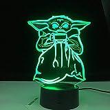 Mini Yoda Meme Lámpara 3D Regalo Baby Yoda Bowl Sopa Figurilla Decoración de dormitorio para niños Luz de noche Luz de noche para niños para niños Noche de Navidad cumpleaños San Valent