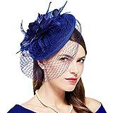 Coucoland Tocado de plumas para mujer, con hoja de arce, malla de malla, para boda, novia, elegante, para cóctel, té, fiesta, carnaval, accesorios para disfraz azul Talla única