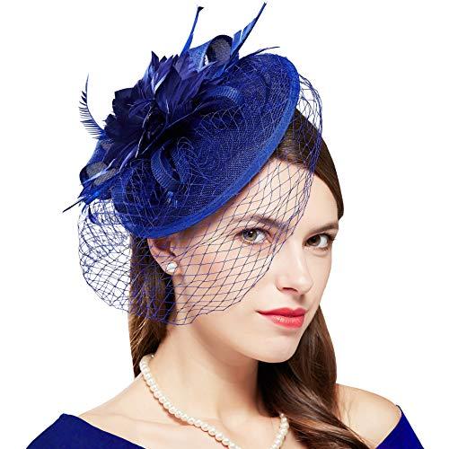 Coucoland Tocado de plumas para mujer, con hoja de arce, malla de malla, para boda, novia, elegante, para cóctel, té, fiesta, carnaval, accesorios para disfraz