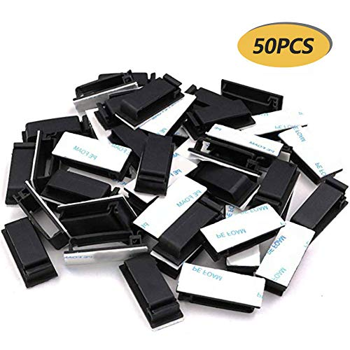 vitihipsy 50er Pack Kabelclips, Kabelhalter mit starkem Klebepad, Kabelorganisatoren, Kabelmanagement, Mehrzweck-Kabelklemmen für TV-Computer, Laptop, Ethernet-Kabel, Desktop, Home Office