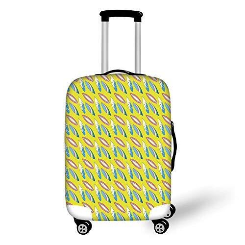 Reizen Bagage Cover Koffer Beschermer, Floral, Pastel Gekleurde Bloemen met Etnische Folk Stijl Effecten Elegantie Ontwerp, Apple Groen Aqua Grijs, voor Reizen