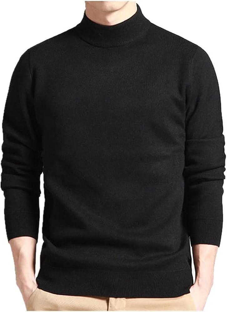 NP Men Sweater Mock Neck Spring Autumn Wear Thin to Black