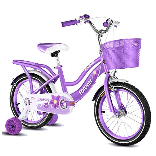 Axdwfd Kids Bike Kids' Bikes 12/14 Inch, High Carbon Steel Children's Bicycle with Training Wheel Gift for 2-5 Years Old Boys and Girls Bicycle (Color : Purple, Size : 12in)