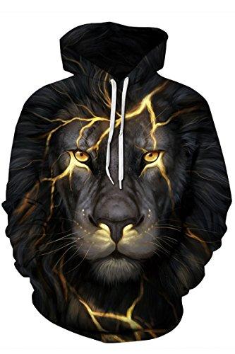 LEISUP Womens Digital Printed Long Sleeve Big Pocket Hooded Sweatshirt Revenge Lion M