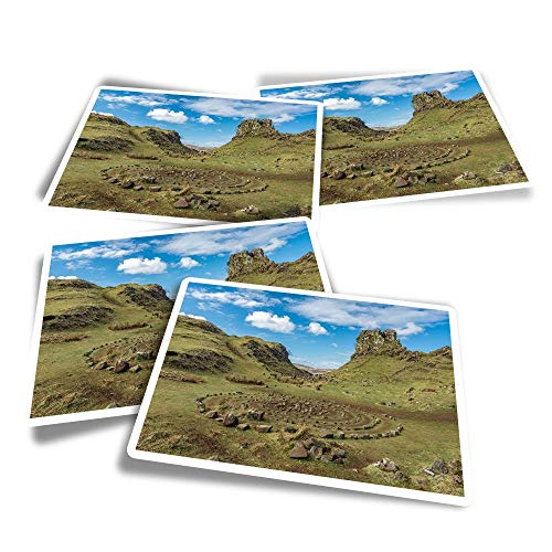 Vinyl Rectangle Stickers (Set of 4) - Fairy Glen Isle of Skye Scotland Fun Decals for Laptops,Tablets,Luggage,Scrap Booking,Fridges #44993