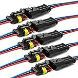 YETOR Conector de Cable Enchufe Impermeable,Conector Macho de 3 Pines Conectores eléctricos con Cable 16 AWG Marine para Conexiones de automóviles, Camiones, Barcos y Otros Cables. (5pack)