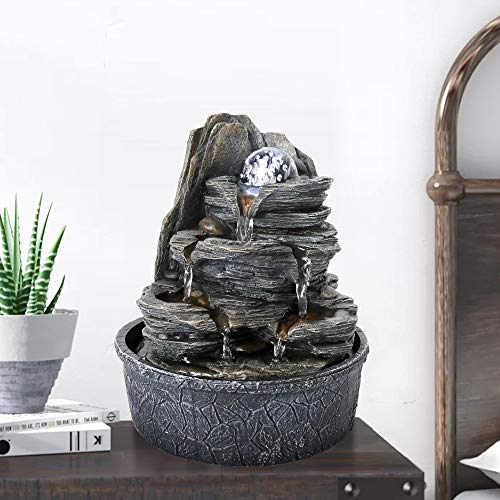 "BBabe Rockery Indoor Water Fountain, Zen Meditation Tabletop Fountain with LED Lights & Crystal Ball for Home Office Bedroom (9 4/5"")"
