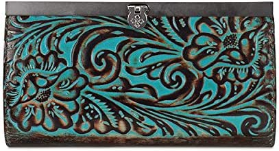 Patricia Nash Cauchy Metallic Leather Embossed Turquoise Wallet Ranking TOP14 Same day shipping