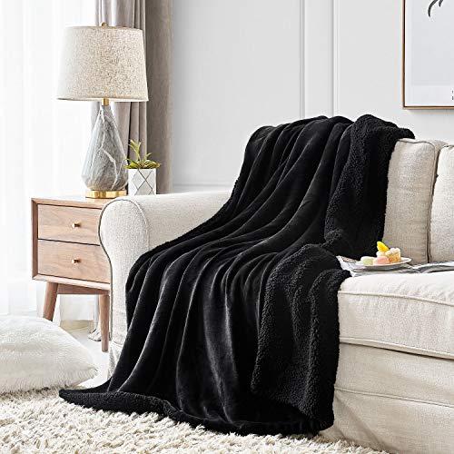 Hansleep Manta Reversible de Franela Sherpa 130x165cm Negro, Manta Polar para Cama 80 de Microfibra Manta Pelo para Sofá Suave Manta Forro Polar de Invierno