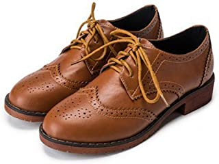 Women's Classic Wingtip Oxfords Shoes Vintage Brogues Lace-up Flat Low Heel Casual Dress Oxford Brown