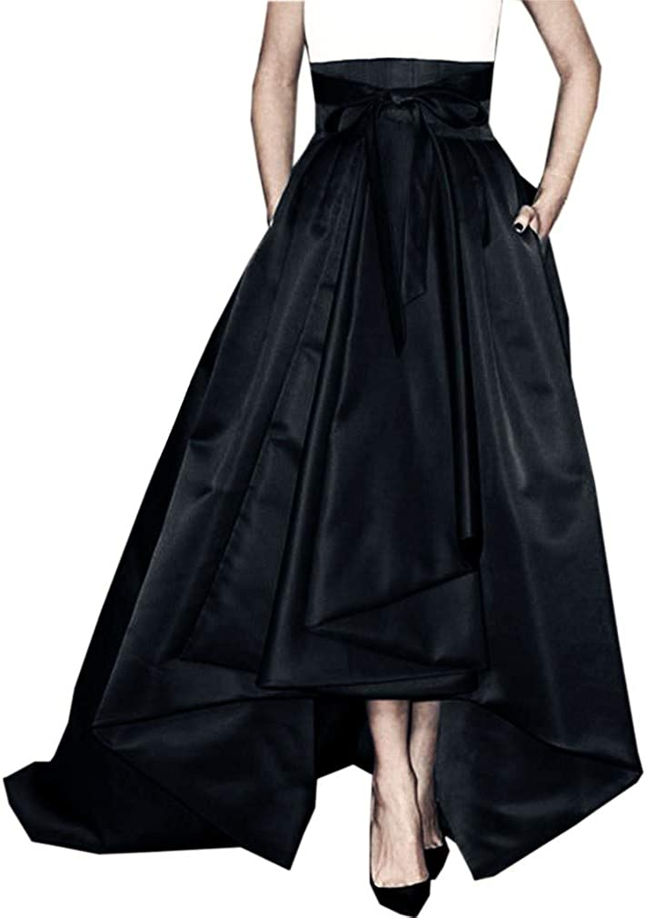DreamSkirts Women's Long Satin Bowknot Belt Maxi Skirt A-Line High-Low Prom Party Skirts with Pockets