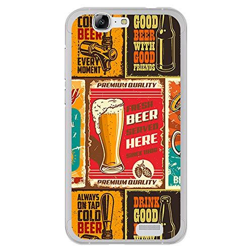 BJJ SHOP Funda Transparente para [ Huawei Ascend G7 ], Carcasa de Silicona Flexible TPU, diseño : Patron Cervezas Vintage