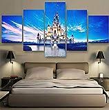 Magic Kingdom Castle 5 Piezas Lienzo Decoración De Pared 5 Pinturas Póster Fotográfico Con Impresión Hd (Sin Marco)