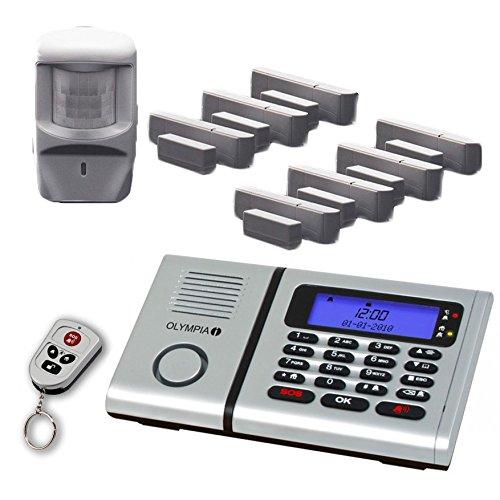 Olympia Sicherheit Plus Haus Funk Alarmanlage im Set 6061 mit 7 Tür/Fensterkontakten, Notruf- und Freisprechfunktion und Integrierter Telefonwähleinheit