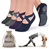 Ozaiic Non Slip Socks for Yoga Pilates Barre Fitness Hospital Socks for Women (4 Pairs - Navy/D.gray/ D.green/D.purple)
