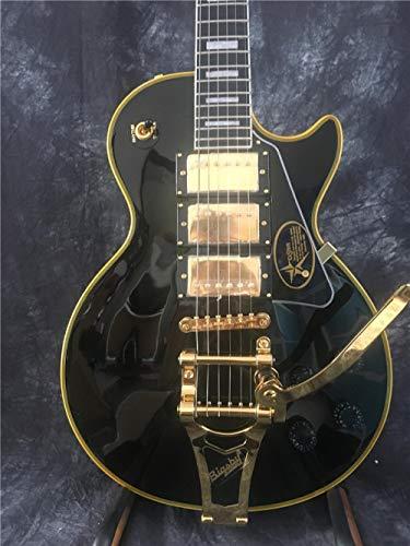 SYXMSM Guitar Beginner Guitars Guitarra acustica Acoustic Cuerpo De Caoba Sólida De Guitarra Eléctrica con Pintura Negra Y Hardware De Oro De Unión Amarillo Acoustic Guitars