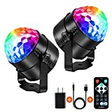 Party Lights Disco Ball Strobe Light Disco Lights (USB Charged), 7 Colors Sound Activated Stage Light with Remote Control Dj Lights for Festival Bar Club Party Wedding Show Home