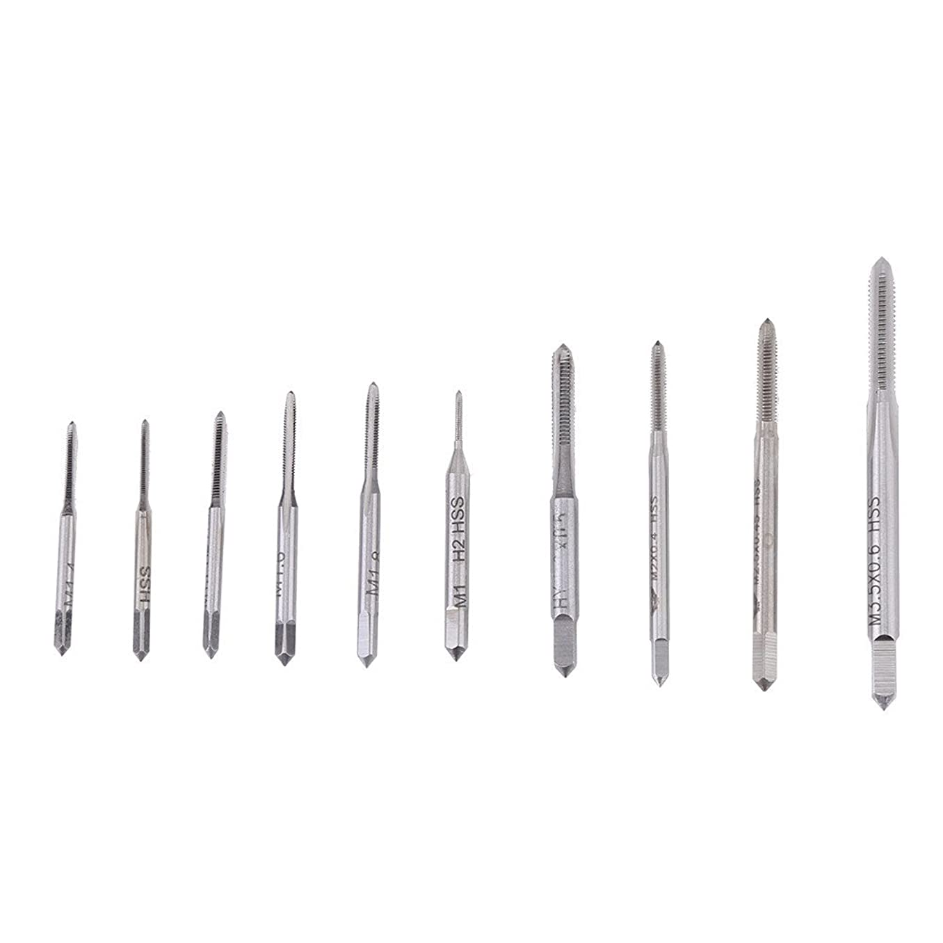 Acogedor 10pcs Machine Hand Threading Taps M1—M3.5,HSS Metric Machine Plug Thread Screw Tap Tool Set,M1, M1.2, M1.4, M1.6, M1.7, M1.8, M2, M2.5, M3, M3.5