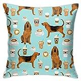 Hdadwy Tejido Bloodhound Tejido Bloodhound Diseño de Perros y cafés Fundas de Almohada, Cojín de sofá Decoración de diseño de Felpa Funda de Almohada de Cama para el hogar 18x18 Pulgadas