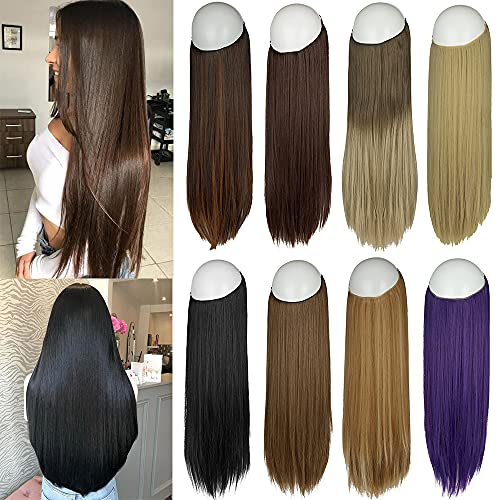 Halo Hair Extensions Straight Secret Wire Headband Long Synthetic Hairpieces 22 Inch 4.2 Oz for Women Heat Friendly Fiber No Clip