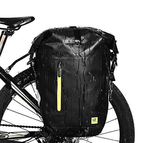 WATERFLY 25L Bike Bag Bike Panniers Bag Waterproof Bike Saddle Bag Extensible Bicycle Rear Seat Bag Shoulder Bag with Rain Cover for Riding Cycling (Black 2)