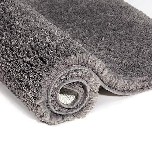ruboka Badezimmerteppich rutschfest, Teppich 50x80 cm für Badezimmer, Wasserabsorbierend Badematten, Weiche Mikrofaser Bad Teppich, Maschinenwaschbar, Schnell Trocknend (grau)