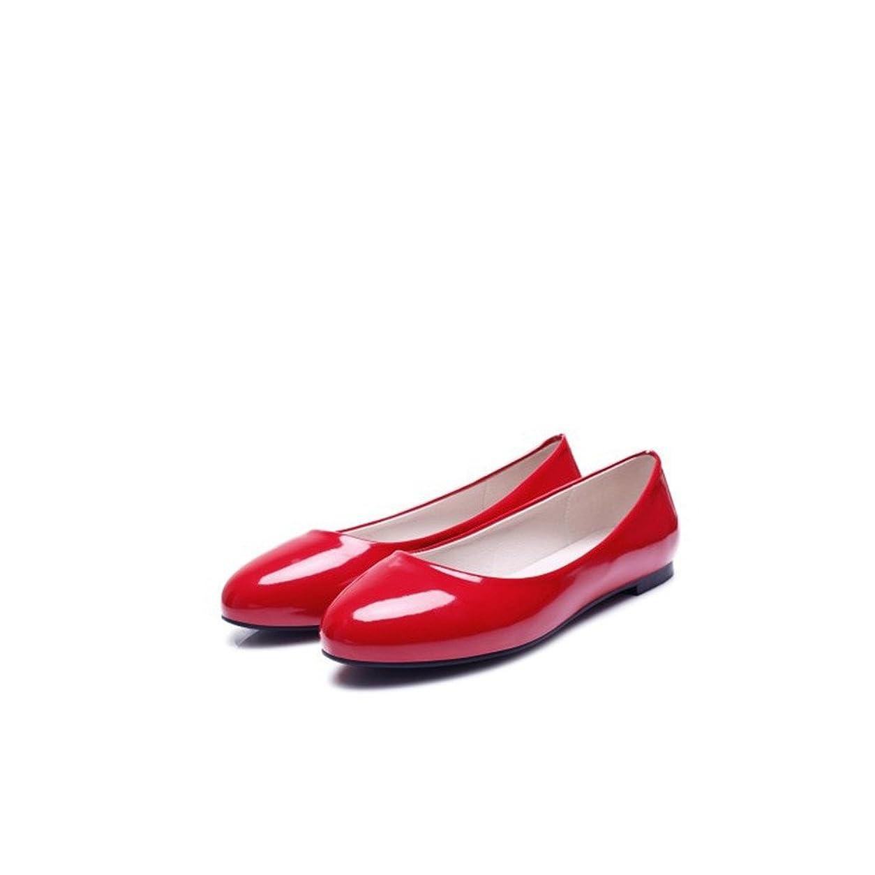 女優幽霊広々CVICVJAPAN シンプルフラットパンプス大きなサイズ浅口ラウンド靴 (27, レッド)