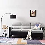 Targos <span class='highlight'>Corner</span> Chaise <span class='highlight'>Sofa</span> 3 Seater L Shaped <span class='highlight'>Sofa</span> with Footstool, Faux Leather and Fabric, Left or Right Hand Side (Grey Black)
