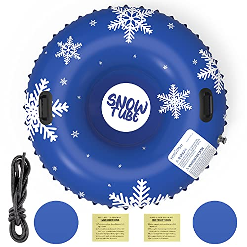Snow Tube, Heavy Duty Inflatable Snow Tube Sled for Kids and Adults, Giant Snow Toys for Winter...