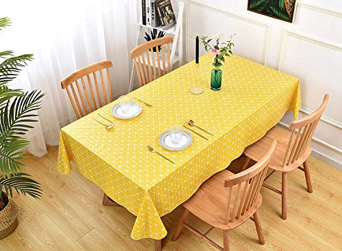Yellow Tablecloths Geometric Series Pattern Cotton Linen Tablecloth Simple Style Twill Table Cover Kitchen Dining Room Restaurant 130x180cm(51x71inch)……