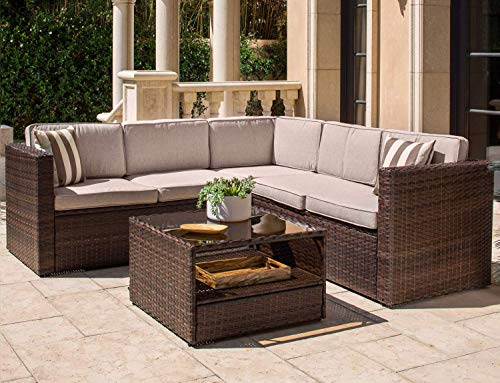 SOLAURA Outdoor 4-Piece (5 Seats) Sofa Sectional Set All Weather Brown Wicker with Brown Waterproof Cushions & Sophisticated Glass Coffee Table for Patio, Backyard, Pool