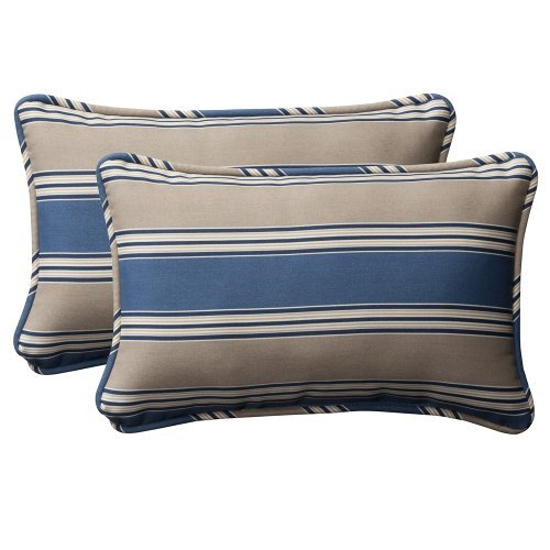 Pillow Perfect Coussin décoratif rectangulaire à rayures Bleu/marron clair