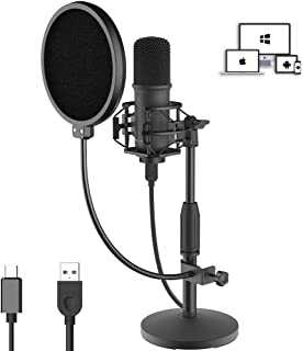 LESYAFEL USB Condenser Microphone Recording Kit with Desktop Stand and Pop Filter 192kHZ/24bit for YouTube,Podcast,Gaming,Studio Plug & Play for Laptop Mac/Windows and Type-C Mobile Phone Space Grey